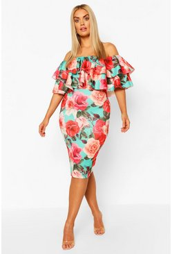 Green Plus Off The Shoulder Floral Midi Dress