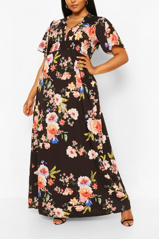 Plus Dark Floral Ruffle V-neck Maxi Dress 6