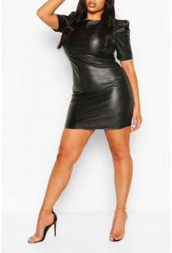 Plus Puff Sleeve PU Shift Dress, Black