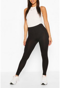 Black Petite High Waisted Basic Jersey Leggings