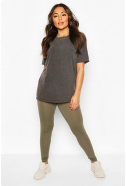 Petite High Waisted Basic Jersey Leggings, Khaki