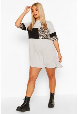 Grey Plus Leopard Stripe T-Shirt Dress