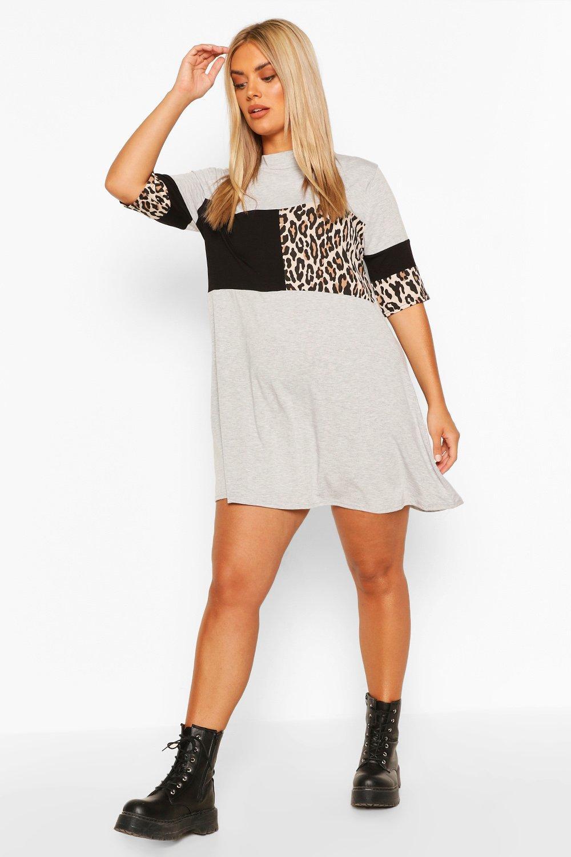 Plus Leopard Stripe T-Shirt Dress 4