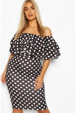 Plus Off Shoulder Polka Dot Midi Dress, Black