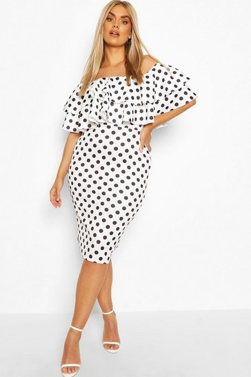 Ivory Plus Off Shoulder Polka Dot Midi Dress