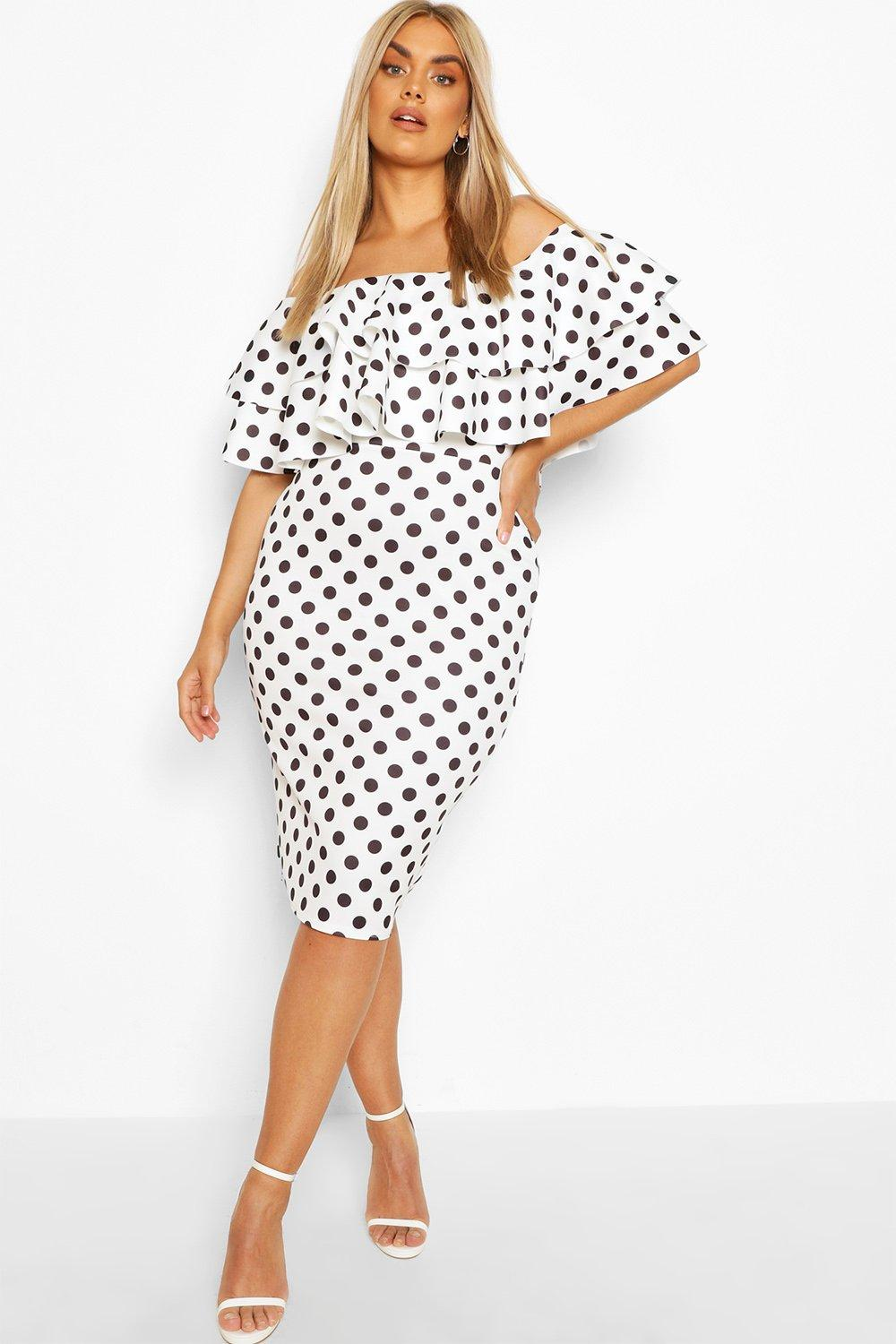Plus Off Shoulder Polka Dot Midi Dress 8