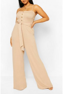 Stone Plus Shirred Tie Waist Jumpsuit