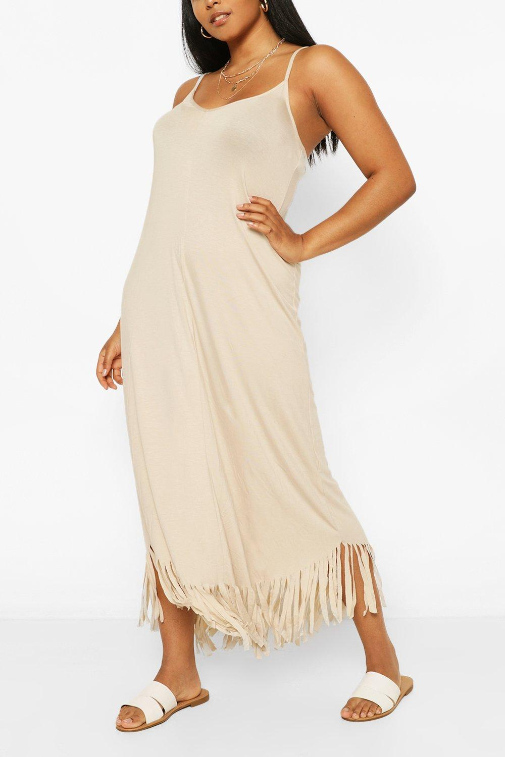 Plus Strappy Tassel Hem Maxi Dress 6