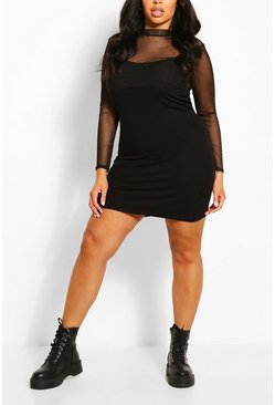 Black Plus Mesh Top 2 in 1 Slip Dress