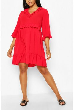 Red Plus Kimono Sleeve Smock Dress
