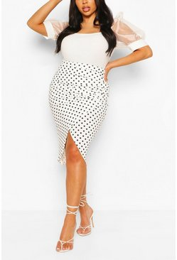 White Plus Polka Dot Ruched Side Split Midi Skirt