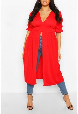 Red Plus Plunge Maxi Top