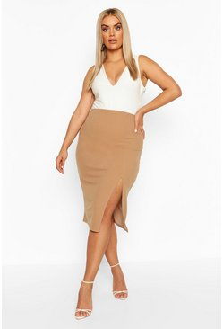 Camel Plus Side Split Midi Skirt