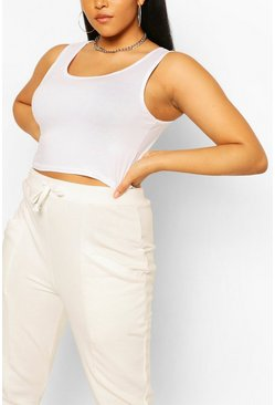 White Plus Basic Scoop Sleeveless Crop Top