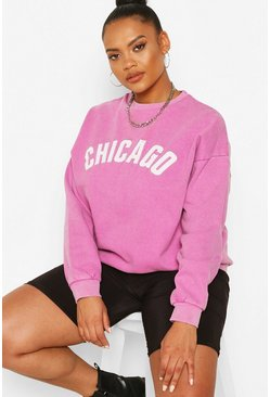 Lilac Plus Washed Chicago Oversized Sweat