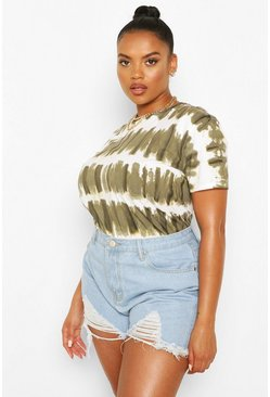 Khaki Plus Stripe Acid Wash T-Shirt