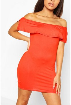 Orange Petite Off The Shoulder Frill Bodycon Dress