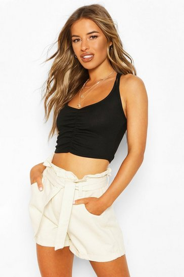 Black Petite Ruched Front Double Strap Cami Top