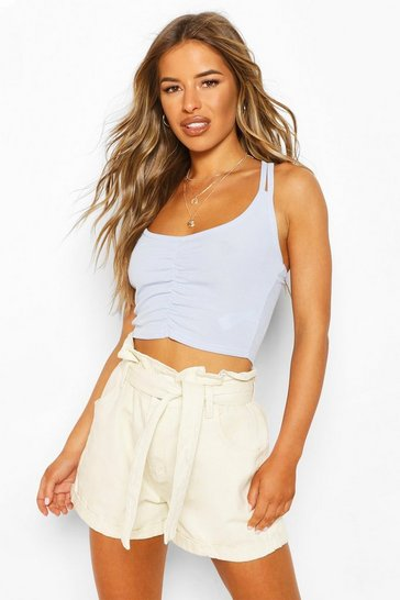 Sky Petite Ruched Front Double Strap Cami Top