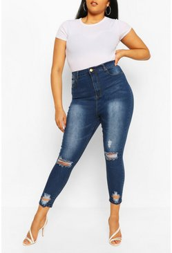 Plus Distressed Skinny Jean, Blue