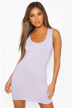 Lilac Petite Sleeveless Scoop Neck Mini Dress
