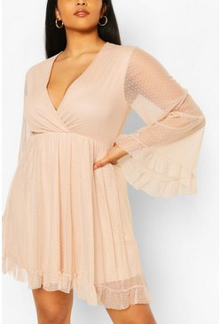 Nude Plus Dobby Mesh Wide Sleeve Skater Dress