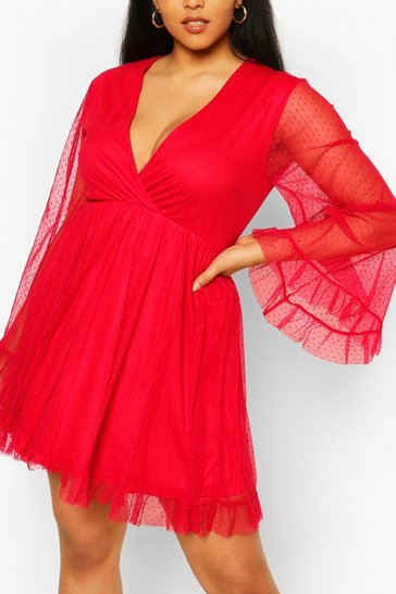 Red Plus Dobby Mesh Wide Sleeve Skater Dress
