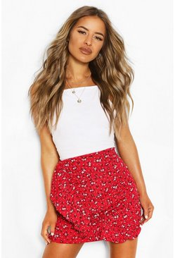 Red Petite Ditsy Floral Frill Mini Skirt