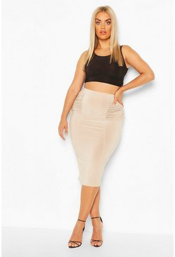Stone Plus Gathered Detail Slinky Midi Tube Skirt