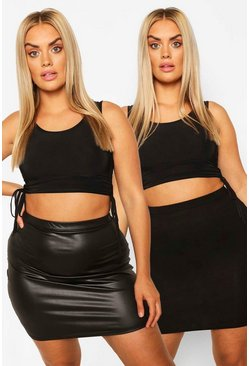 Plus Jersey And PU Mini Skirt 2 Pack, Black