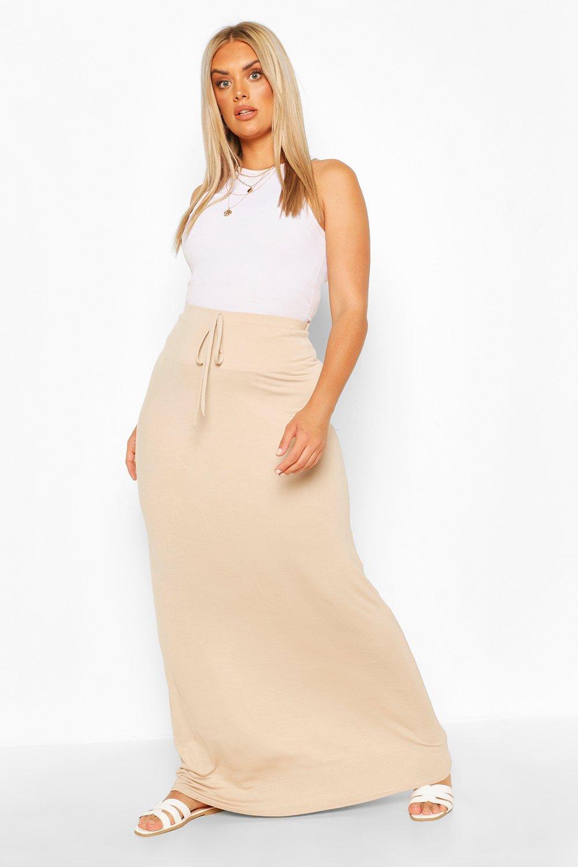 Plus Basic Tie Front Maxi Skirt 2