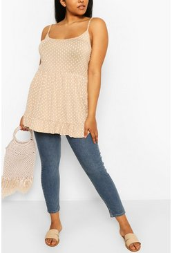 Plus Polka Dot Tiered Smock Cami Top, Stone