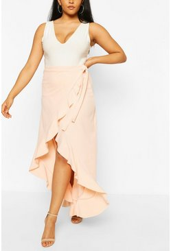 Plus Ruffle Tie Side Maxi Skirt, Blush