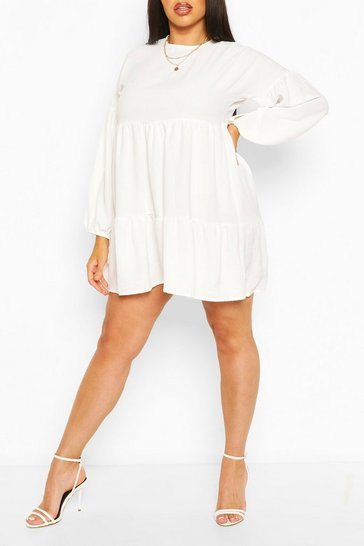 Ivory Plus Balloon Sleeve Tiered Smock Dress