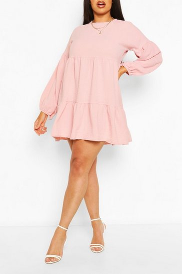 Rose Plus Balloon Sleeve Tiered Smock Dress