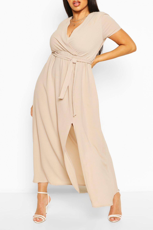 Plus Wrap Cap Sleeve Maxi Dress 8