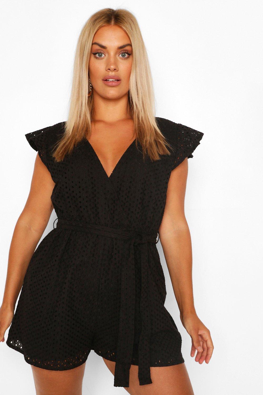 womens plus broiderie wrap romper - black - 20