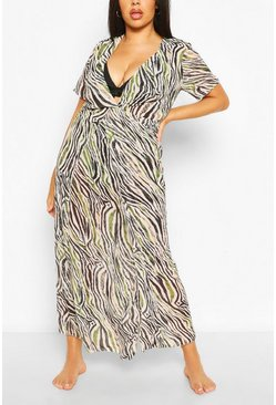 Ivory Plus Zebra Print Maxi Beach Dress