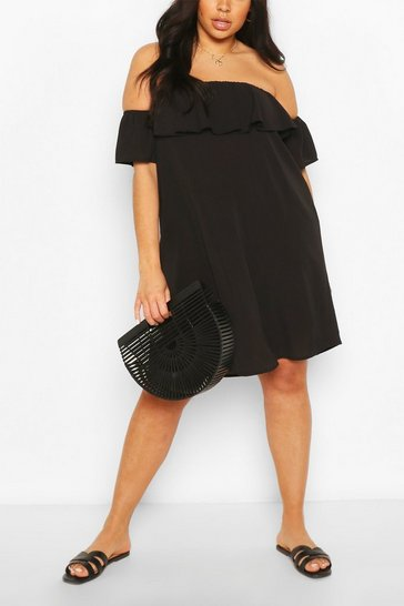 Black Plus Off The Shoulder Shift Dress
