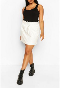 Cream Plus PU Paperbag Belted Mini Skirt