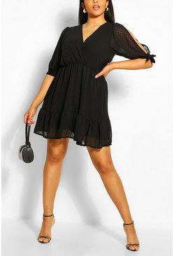Black Plus Dobby Mesh Split Tie Sleeve Skater Dress