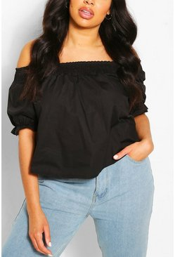 Black Plus Shirred Poplin Bardot Top