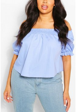 Blue Plus Shirred Poplin Off The Shoulder Top