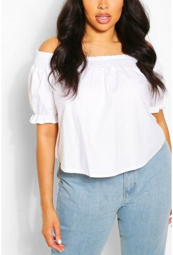 Ivory Plus Shirred Poplin Bardot Top