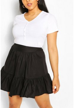 Black Plus Poplin Ruffle Skater Skirt