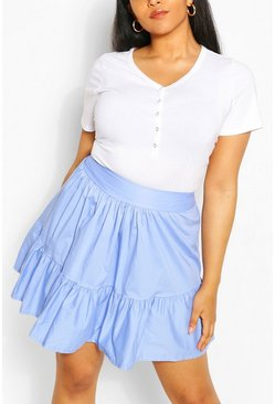 Blue Plus Poplin Ruffle Skater Skirt