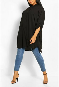 Black Plus Oversized Longline Shirt