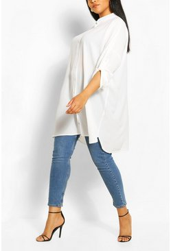 White Plus Oversized Longline Shirt