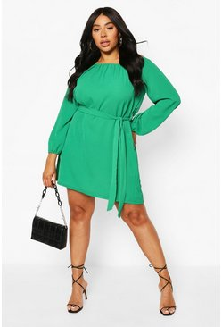 Green Plus Off Shoulder Belted Shift Dress