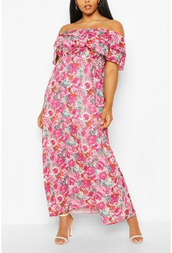 Pink Plus Floral Ruffle Off Shoulder Midaxi Dress